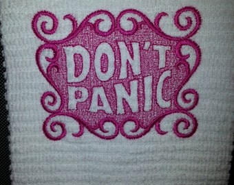 Embroidered Towel - Don't Panic Design, Hitchhikers Guide to the Galaxy Inspired