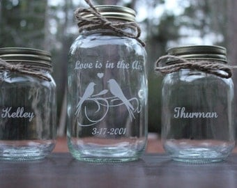 3 piece Personalized Mason Jar Sand Ceremony set, Wedding Ceremony, Love is in the Air, Personalized Sand Ceremony Set