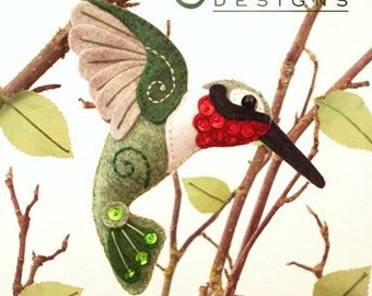 Hummingbird Sewing Pattern PDF - Backyard Bird Stuffed Ornament - Felt Plushie - Harold the Hummingbird
