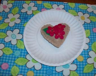 Felt Food Cookie, Valentine, Red Flowers