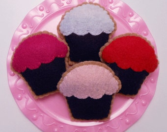 Felt Food Cookie, Chocolate Cupcake with Frosting