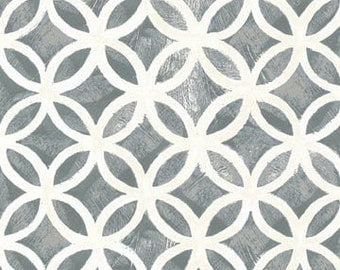 Hello Dahlia from P & B Textiles -- Distressed Gray and White Geometric Circles Quilt Fabric