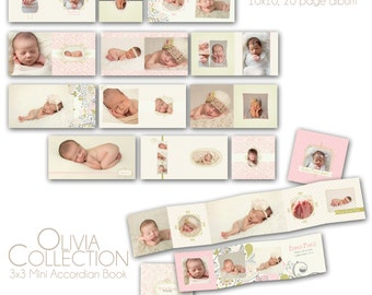 0755 Olivia Collection - 10x10 album and 3x3 mini accordion album - Perfect for baby, boudoir, pin up, engagement
