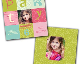 INSTANT DOWNLOAD -  Birthday Invitation Photoshop Psd Photo Card Template Photographers - Bright Girl - 0561