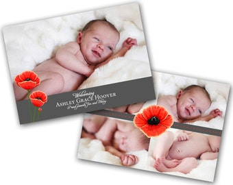 INSTANT DOWNLOAD - Birth announcement photo card template, 5x7 card - 0223