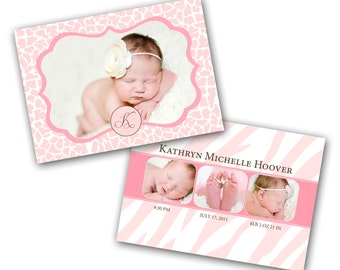 INSTANT DOWNLOAD - Birth announcement photo card template, 5x7 card - 0282