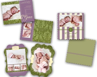 0174-6 LUXE Baby Birth Announcement Photoshop PSD Photo Card Template for Photographers - Girl Vol 6 - Millers, Whcc or Mpix