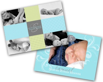 INSTANT DOWNLOAD - Birth announcement photo card template, 5X7 card - 0265