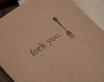 Letterpress card - Fork You