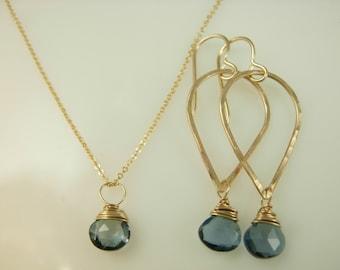 Gemstone Earrings - Gemstone Necklace and Earrings - Hammered Gold Hoops