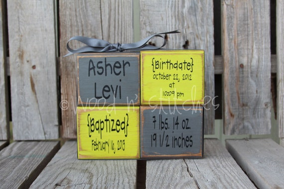 Personalized Name Date kids baby girl boy birth baptism gift announcement Wood Stacker block set wedding family nursery y kids room  gift