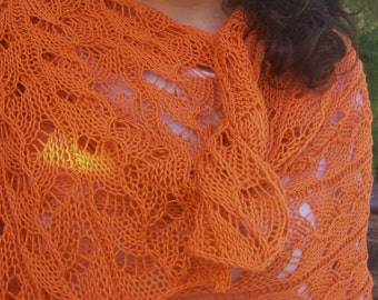 Orange Crush Rectangular Pima Cotton Lace Wrap or Shawl