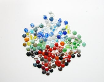 Vintage Beautiful Multi-Color Marble Collection-  Kiln Fired Glass Marbles- 125 pieces