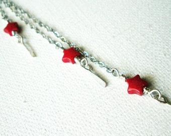 Shoulder Duster Chain Handmade Earrings with Red Stars