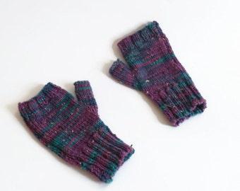 women gloves knitted wristwarmers purple fingerless gloves