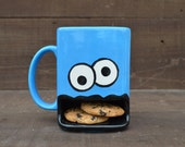 Googly Eyed Monster Dunk Mug - Ceramic Cookie and Milk Mug - READY TO SHIP