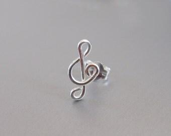 Single Sterling Silver Treble Clef Earring, Gold Wire Treble Clef Stud, Rose Gold Treble Clef Post Earring, Music Earring, Music Earring