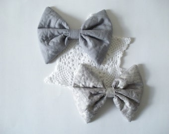Large Grey Hair Bow, Cotton Hair Bow, For Girls, For Women