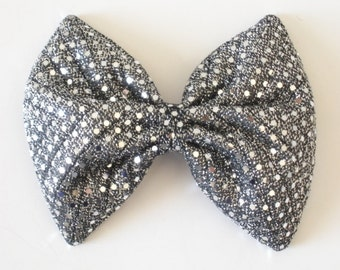 Sequin Hair Bow, Chevron Silver and Black Hair Bow, Iridescent Shimmery Shiny, Party Hair Bow