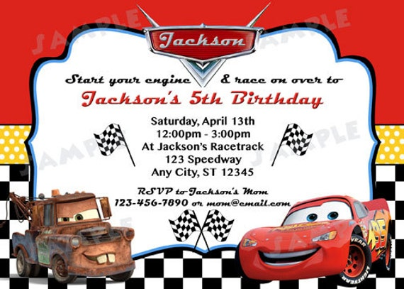 Cars Invitation Card Template Free: Disney Cars Inspired Invitation DIY Digital By Modpoddesigns