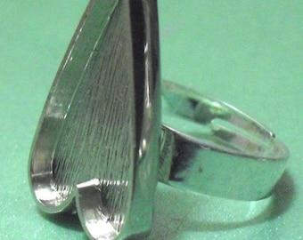 40pcs29X52mm Great heart Silver tone Pewter bezel blank Tray  ring