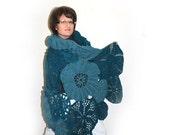 Crochet Shawl, Extra Large Blue Shawl, Wrapped Shawl, Worm Cozy Shawl, Different Shades of Petrol Blue CUSTOM ORDER