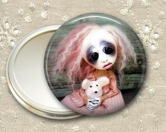 gothic doll pocket mirror,  original art  hand mirror, mirror for purse, bridesmaid gift, stocking stuffer MIR-AD13