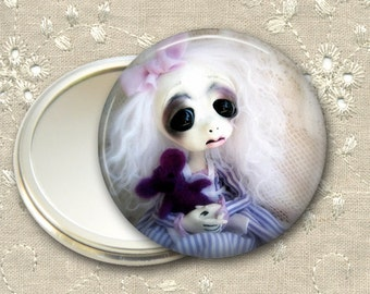 gothic doll pocket mirror,  original art  hand mirror, mirror for purse, gift for her,  bridesmaid gift, stocking stuffer MIR-AD21