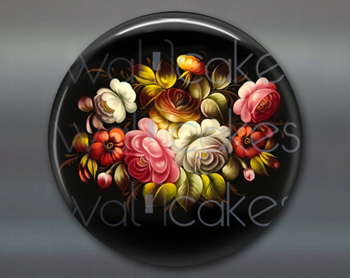 "3.5"" floral fridge magnet, russian trays flower decor, kitchen decor, large magnet, stocking stuffer  MA-337"