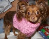 Cuddly Pink Dog Handknit Sweater: Its Cotton Candy Soft