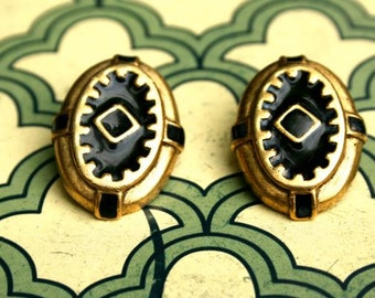 CLEARANCE! Gold and black geo clip earrings