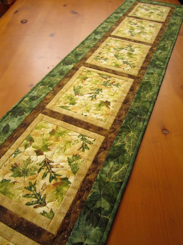 Quilted Table Runner Handmade 71 Long Table Runner Nature