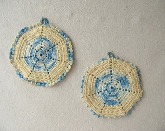 Vintage Crocheted Pot Holders, Blue, Octagon, Handmade, hot pad