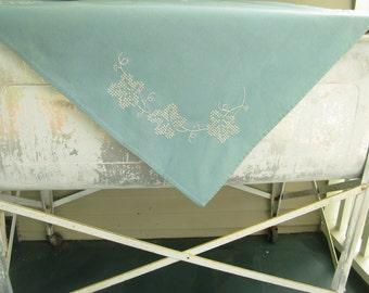 Vintage Aqua Tablecloth Napkin Set, Embroidered Cross Stitch