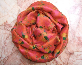 Floral orange print Recycled sari pure silk scarf (19x87)