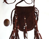 Leather medicine bag with jasper worry stone healing