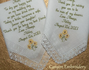 Embroidered Wedding Handkerchiefs Sunflowers on Etsy by Canyon Embroidery
