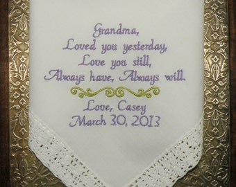 Grandma Wedding Gift Embroidered Wedding Hankerchief ETSY by Canyon Embroidery