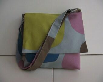 Green/Baby Blue Mini Messenger Bag- Washable