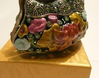 Pill box Trinket box enamled metal inlaid with rhinestones made in the form of a handbag