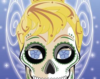 Tinkerbell Sugar Skull Print 11x14 print
