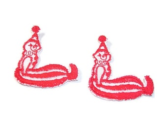 Clown Appliques, Red and White, Circus Clown, Carnival Clown, Embroidered Applique, Red, White, Patch, Lot of 12, Sitting Clown, Sew On