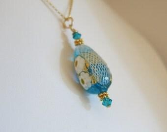 Zanfirico Blue Venetian Glass 14K Gold Fill Necklace