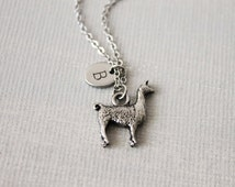 Llama Necklace. antique silver llama with personalized Initial  charm