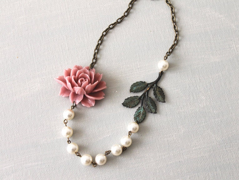 Dusty pink flower necklace ruffle rose and verdigris patina for Audry rose jewelry reviews