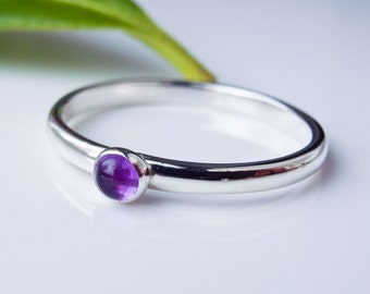 Amethyst Stacking Ring - Sterling Silver - Custom made in your size
