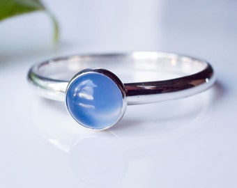 Blue Onyx Stacking ring in Sterling Silver. Stacking Ring