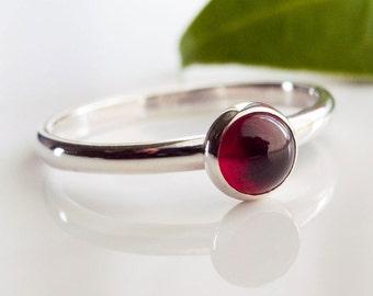 Stacking Ring - Garnet Stacking Ring in Sterling Silver