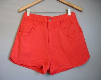 Red High Waisted Denim Shorts Vintage Jean Shorties Medium