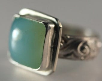 Seafoam Chalcedony and Sterling Silver Ring